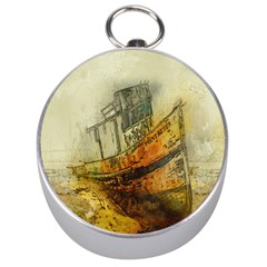 Boat Old Fisherman Mar Ocean Silver Compasses