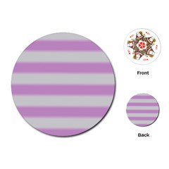 Bold Stripes Soft Pink Pattern Playing Cards (round)