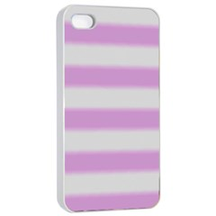 Bold Stripes Soft Pink Pattern Apple Iphone 4/4s Seamless Case (white) by BrightVibesDesign