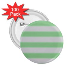 Bold Stripes Soft Green 2 25  Buttons (100 Pack)