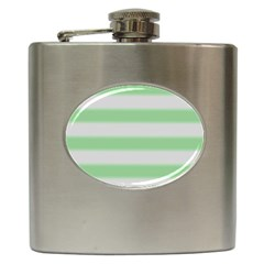 Bold Stripes Soft Green Hip Flask (6 Oz) by BrightVibesDesign