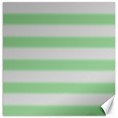 Bold Stripes Soft Green Canvas 12  X 12  by BrightVibesDesign