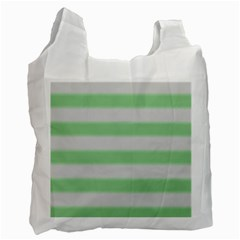Bold Stripes Soft Green Recycle Bag (one Side) by BrightVibesDesign