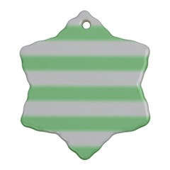 Bold Stripes Soft Green Snowflake Ornament (two Sides) by BrightVibesDesign