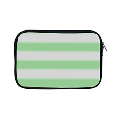 Bold Stripes Soft Green Apple Ipad Mini Zipper Cases by BrightVibesDesign