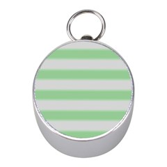 Bold Stripes Soft Green Mini Silver Compasses by BrightVibesDesign
