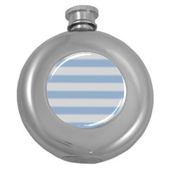 Bold Stripes Soft Blue Round Hip Flask (5 Oz) by BrightVibesDesign