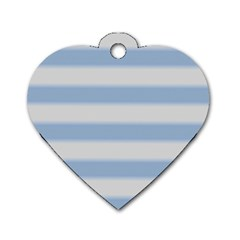 Bold Stripes Soft Blue Dog Tag Heart (two Sides)