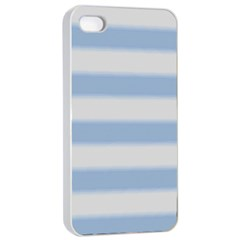 Bold Stripes Soft Blue Apple Iphone 4/4s Seamless Case (white) by BrightVibesDesign