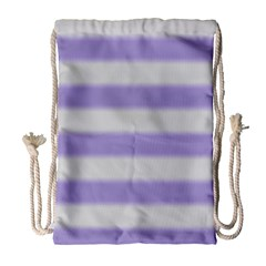 Bold Stripes Soft Purple Pattern Drawstring Bag (large) by BrightVibesDesign
