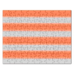 Bold Stripes Orange Pattern Rectangular Jigsaw Puzzl by BrightVibesDesign