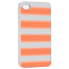 Bold Stripes Orange Pattern Apple Iphone 4/4s Seamless Case (white) by BrightVibesDesign
