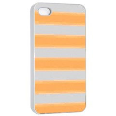 Bold Stripes Yellow Pattern Apple Iphone 4/4s Seamless Case (white) by BrightVibesDesign