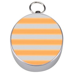 Bold Stripes Yellow Pattern Silver Compasses by BrightVibesDesign