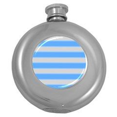 Bold Stripes Bright Blue Pattern Round Hip Flask (5 Oz) by BrightVibesDesign