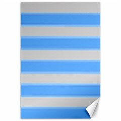 Bold Stripes Bright Blue Pattern Canvas 12  X 18  by BrightVibesDesign