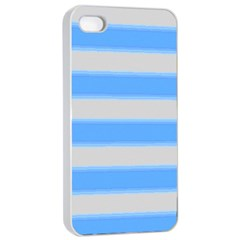 Bold Stripes Bright Blue Pattern Apple Iphone 4/4s Seamless Case (white)