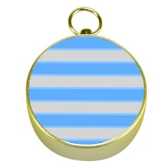 Bold Stripes Bright Blue Pattern Gold Compasses by BrightVibesDesign