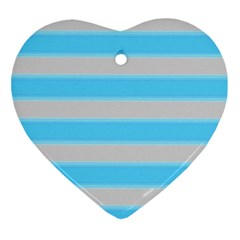Bold Stripes Turquoise Pattern Ornament (heart) by BrightVibesDesign