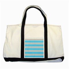 Bold Stripes Turquoise Pattern Two Tone Tote Bag