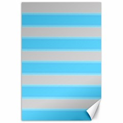 Bold Stripes Turquoise Pattern Canvas 24  X 36  by BrightVibesDesign