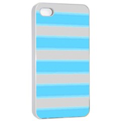 Bold Stripes Turquoise Pattern Apple Iphone 4/4s Seamless Case (white) by BrightVibesDesign