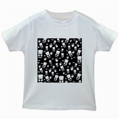 Gentleman Pattern Kids White T Shirts