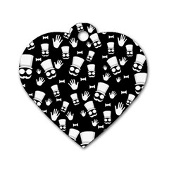 Gentleman Pattern Dog Tag Heart (one Side)