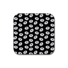 Donuts Pattern Rubber Coaster (square)  by Valentinaart