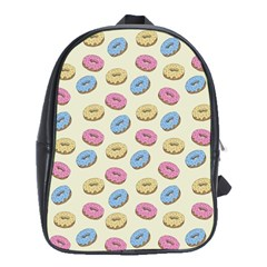 Donuts Pattern School Bag (xl) by Valentinaart