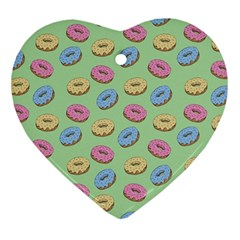 Donuts Pattern Heart Ornament (two Sides) by Valentinaart