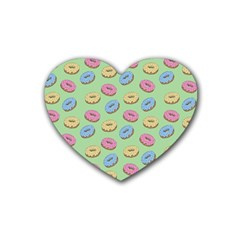 Donuts Pattern Rubber Coaster (heart)