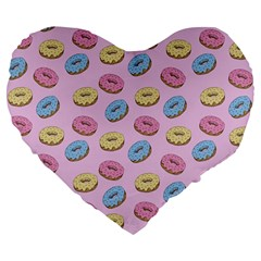 Donuts Pattern Large 19  Premium Flano Heart Shape Cushions by Valentinaart