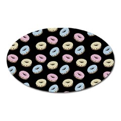 Donuts Pattern Oval Magnet by Valentinaart