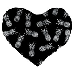 Pineapple Pattern Large 19  Premium Heart Shape Cushions by Valentinaart