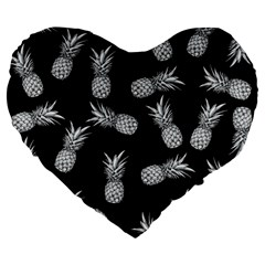 Pineapple Pattern Large 19  Premium Flano Heart Shape Cushions by Valentinaart