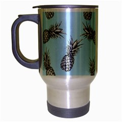 Pineapple Pattern Travel Mug (silver Gray) by Valentinaart