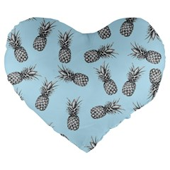Pineapple Pattern Large 19  Premium Flano Heart Shape Cushions