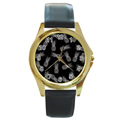 Pineapple Pattern Round Gold Metal Watch