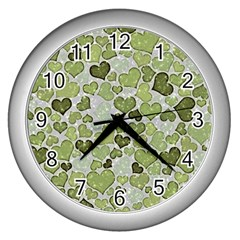 Sparkling Hearts 183 Wall Clock (silver)