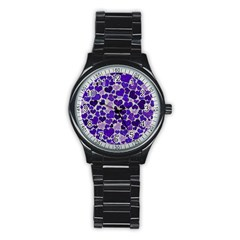 Sparkling Hearts Blue Stainless Steel Round Watch by MoreColorsinLife