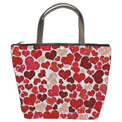 Sparkling Hearts, Red Bucket Bag by MoreColorsinLife