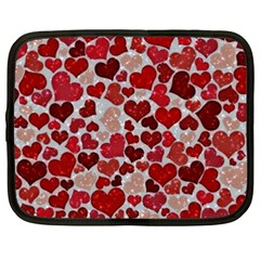 Sparkling Hearts, Red Netbook Case (xxl) by MoreColorsinLife
