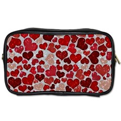 Sparkling Hearts, Red Toiletries Bag (one Side) by MoreColorsinLife