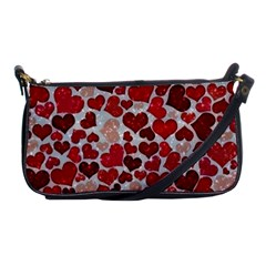 Sparkling Hearts, Red Shoulder Clutch Bag