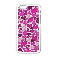 Sparkling Hearts Pink Apple Iphone 6/6s White Enamel Case by MoreColorsinLife