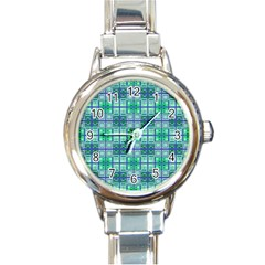 Mod Blue Green Square Pattern Round Italian Charm Watch