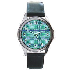 Mod Blue Green Square Pattern Round Metal Watch
