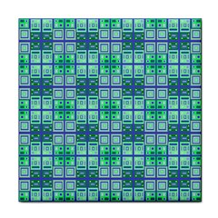 Mod Blue Green Square Pattern Tile Coasters