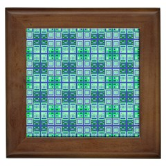 Mod Blue Green Square Pattern Framed Tiles